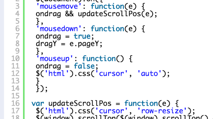 Scroll the page on drag up down with jQuery